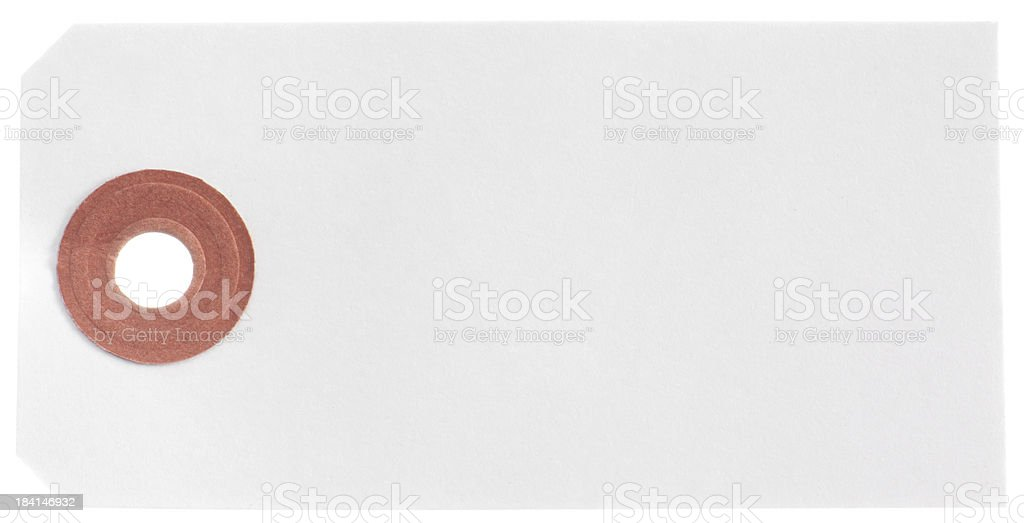 Blank white postal label without string isolated royalty-free stock photo