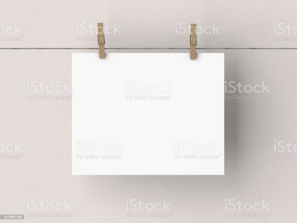 Blank white poster mock up stock photo