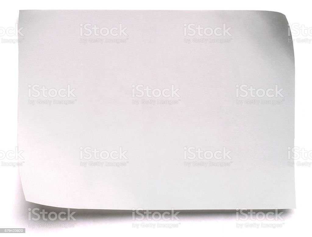 Blank white post-it note, isolated on white stock photo