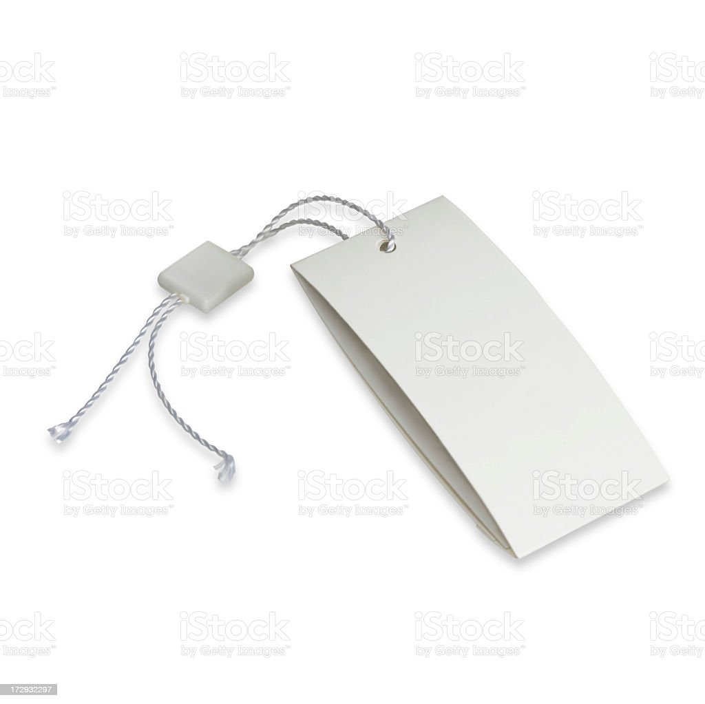 Blank white price tag with a cut-off string stock photo