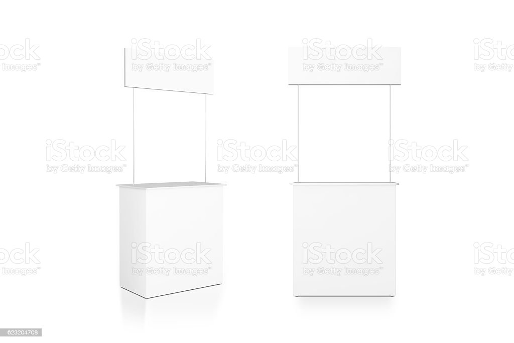 Blank white promo counter mockup stand, front and side view stock photo