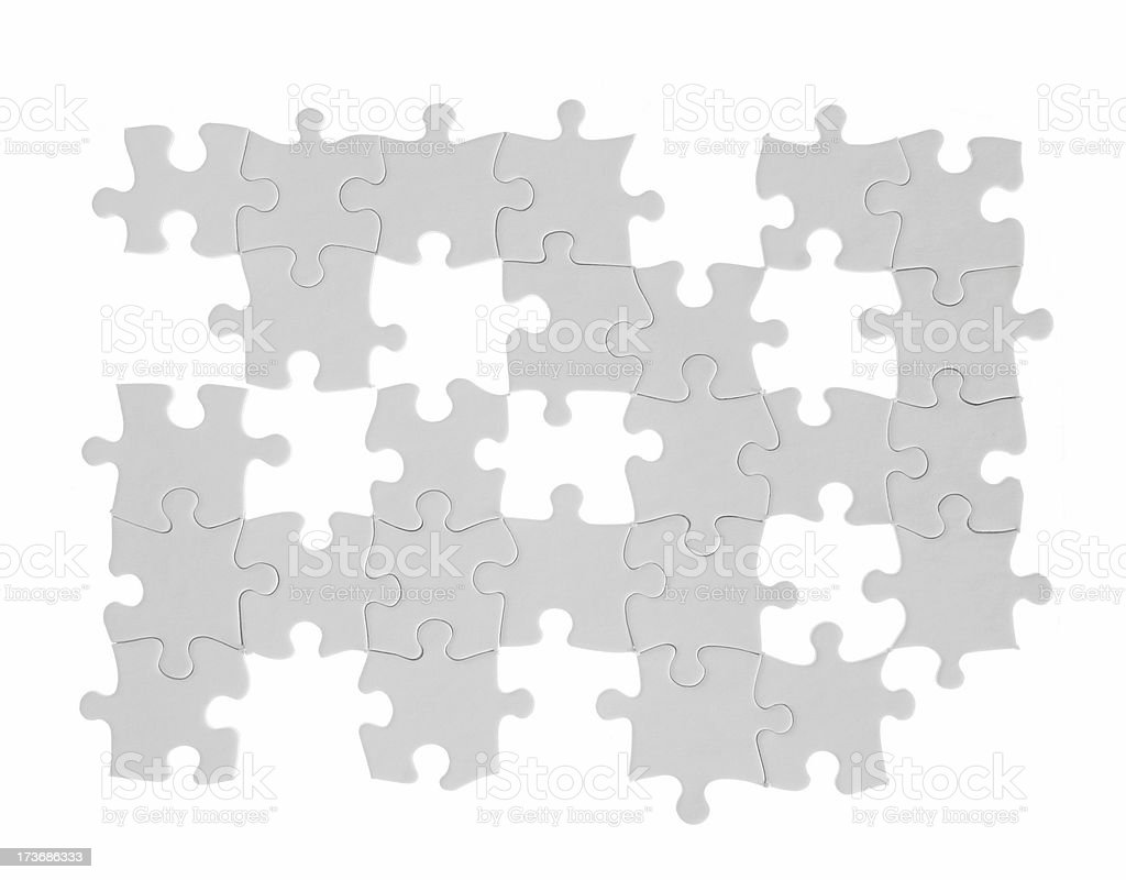 Blank White Puzzle, incomplete stock photo