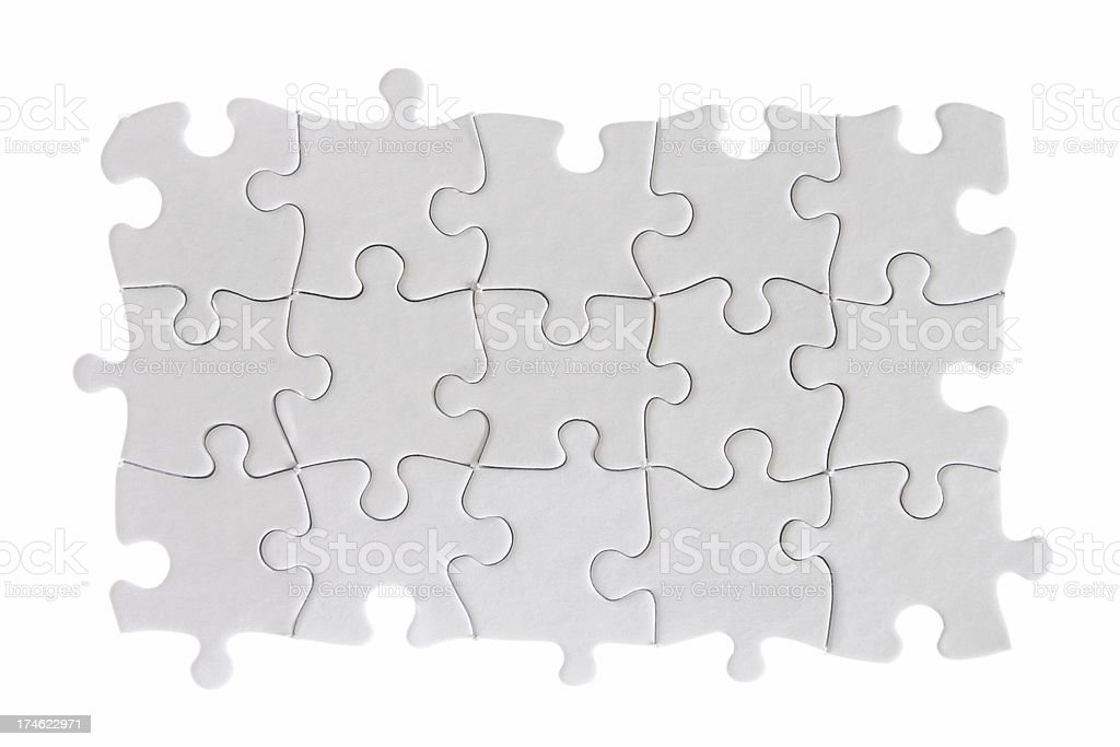 Blank White Puzzle, Small Without Border Pieces royalty-free stock photo
