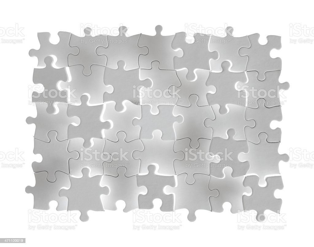 Blank White Puzzle with Raised Glowing Pieces royalty-free stock photo