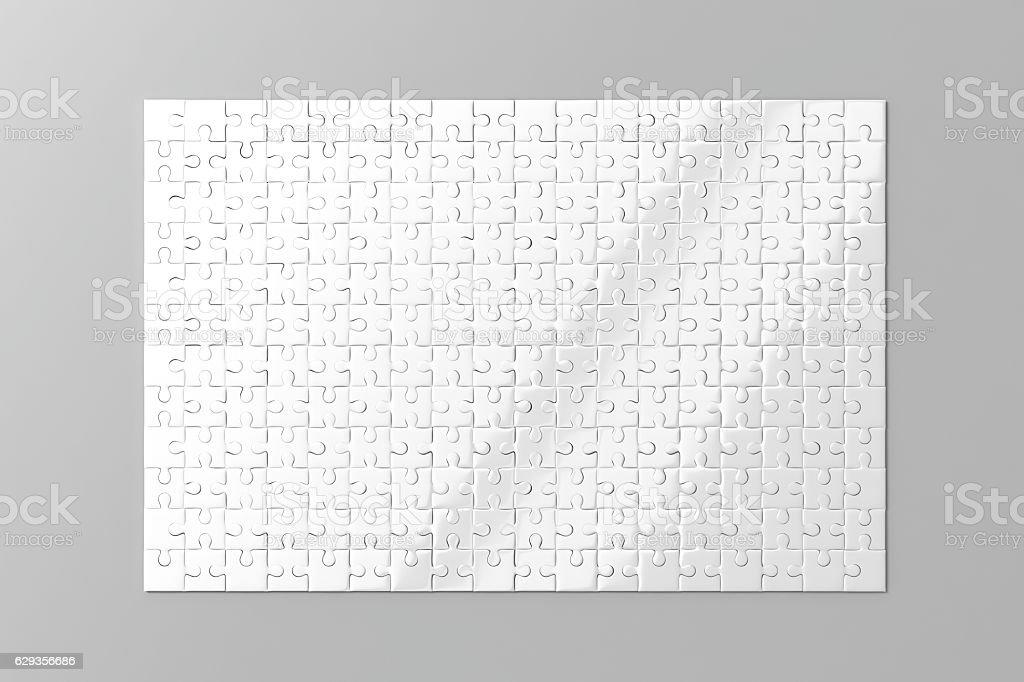 Blank white puzzles game mockup stock photo