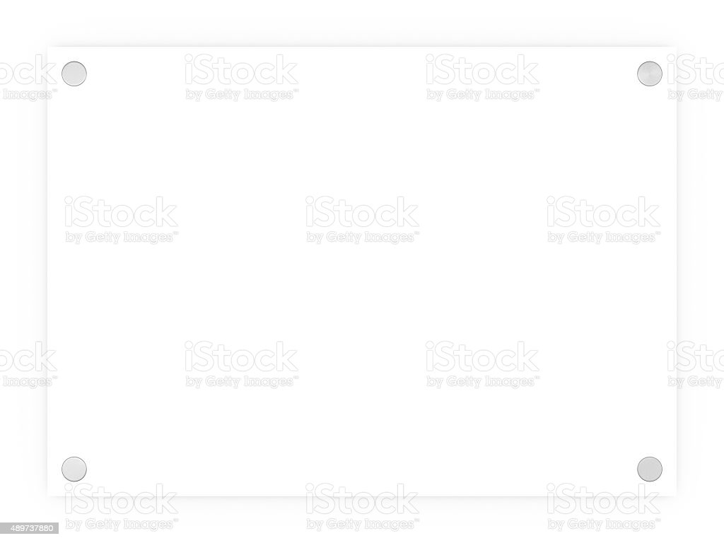 Blank white rectangle sign plaque isolated on a white background stock photo