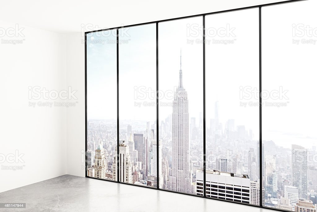Blank white room with city view stock photo