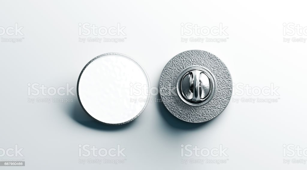 Blank white round silver lapel badge mock up, front back stock photo