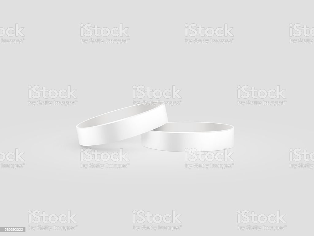 Blank white rubber wristband mockup, clipping path, 3d illustration. stock photo