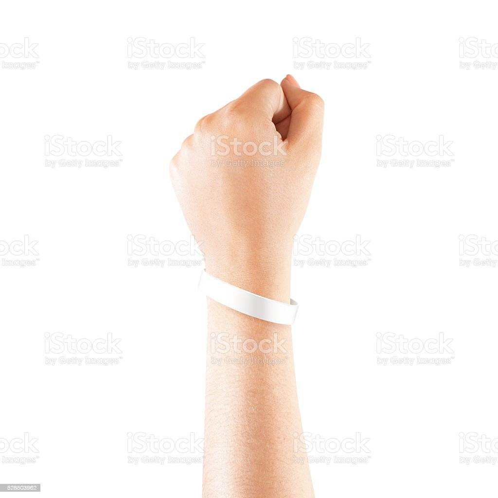 Blank white rubber wristband mockup on hand, isolated stock photo