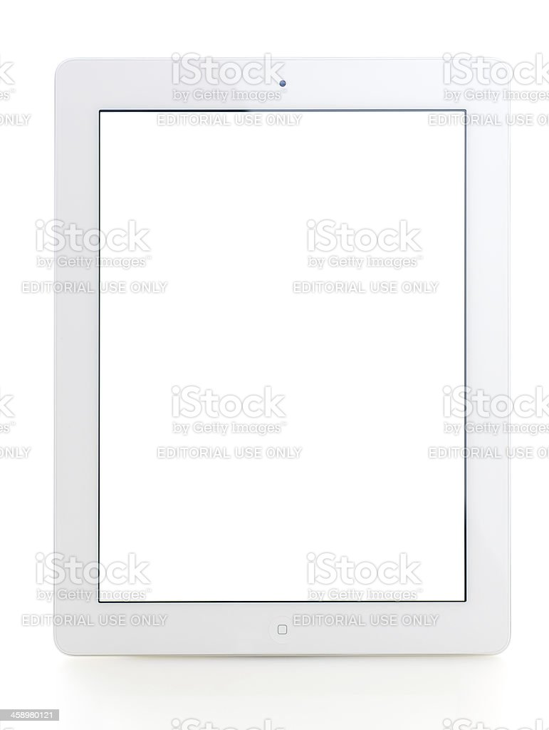 Blank white screen iPad 3 stock photo