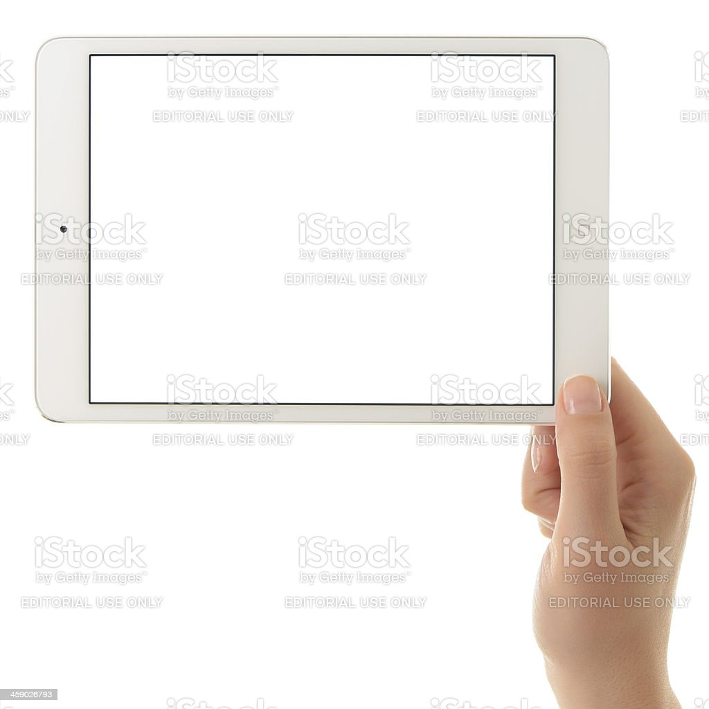 Blank white screen iPad Mini royalty-free stock photo