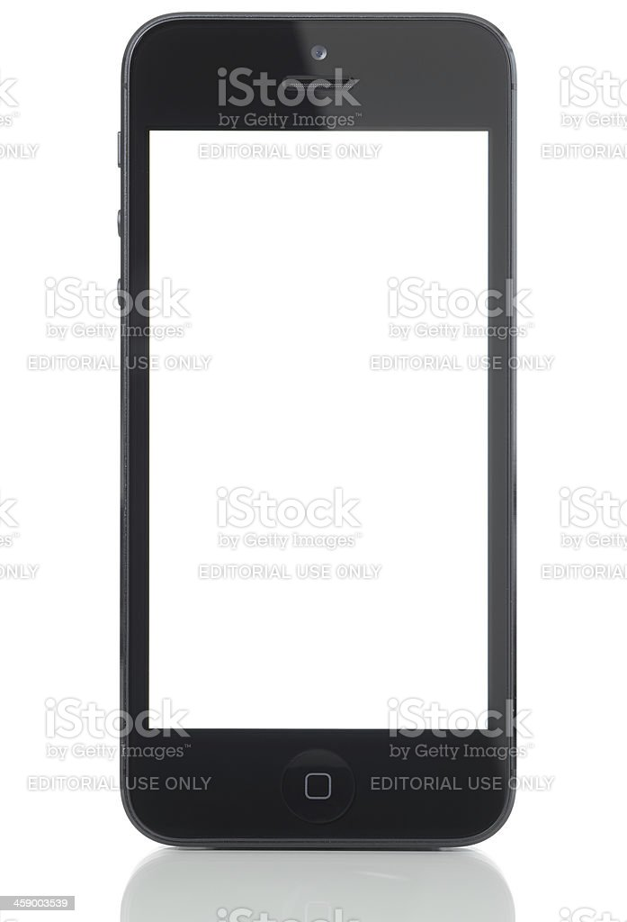 Blank white screen iPhone 5 royalty-free stock photo