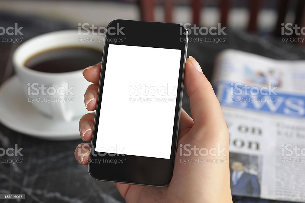 Blank white screen smart phone stock photo