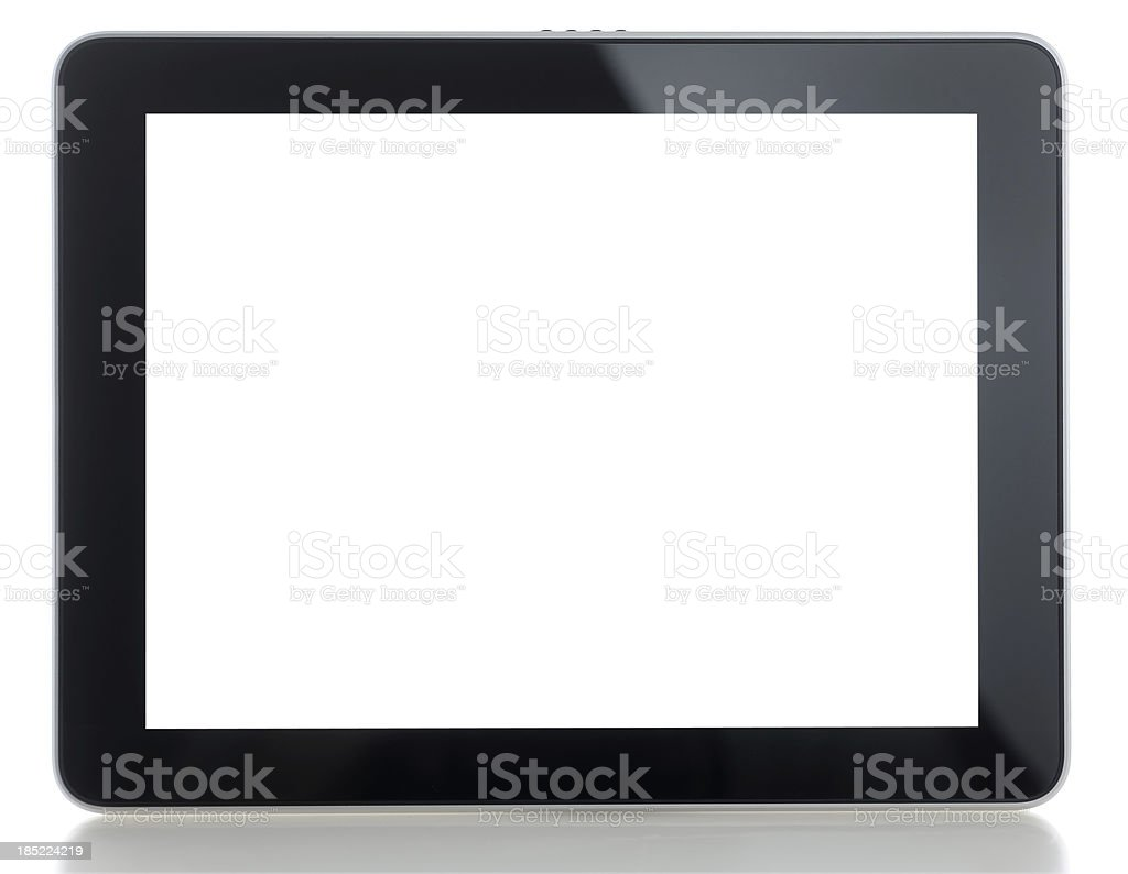 Blank white screen tablet pc stock photo