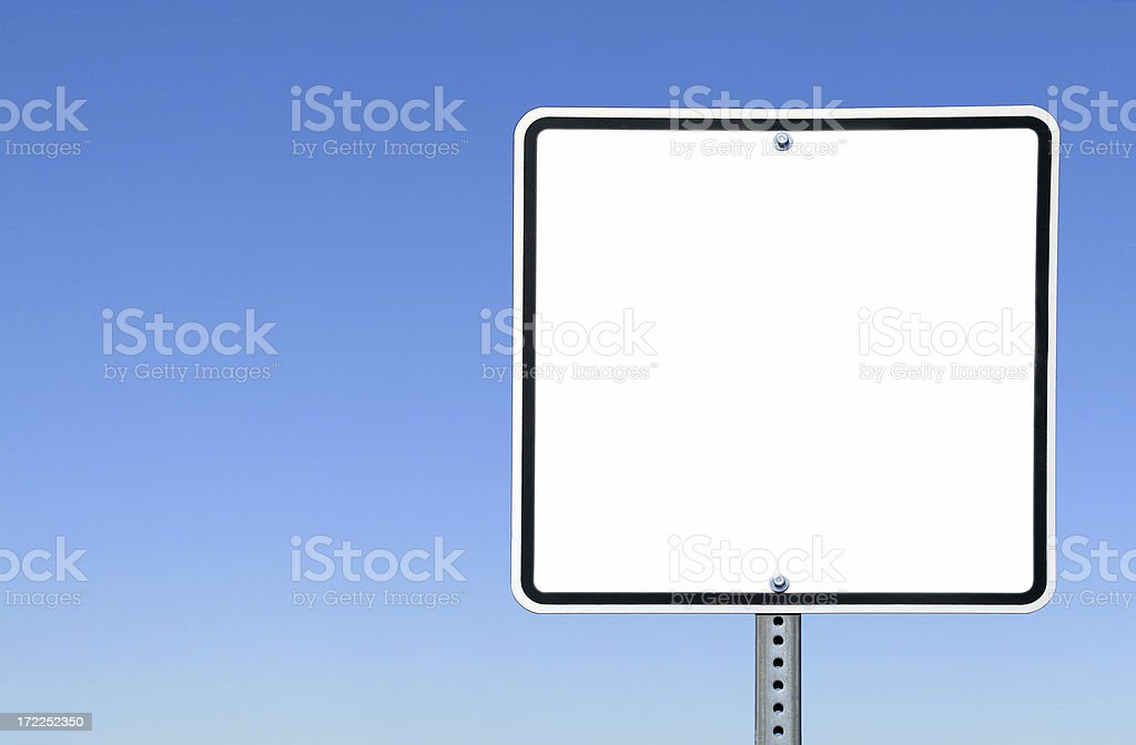Blank White Sign Against the Clear Blue Sky royalty-free stock photo