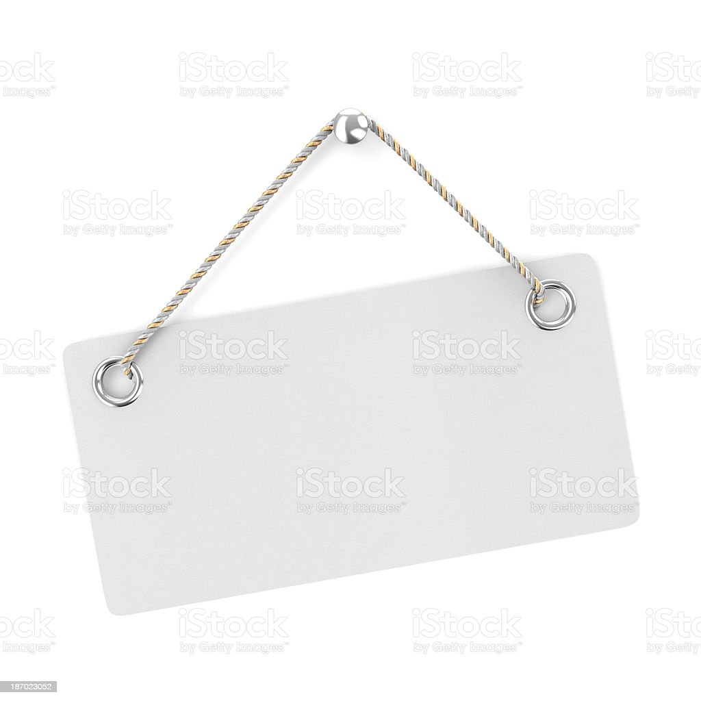 A blank white sign hanging on a white background stock photo