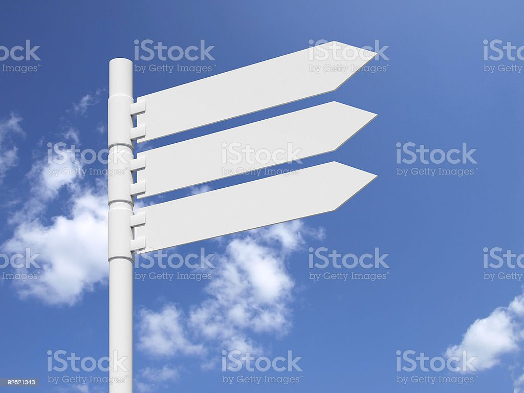 Blank white sign on a blue cloudy sky. royalty-free stock photo