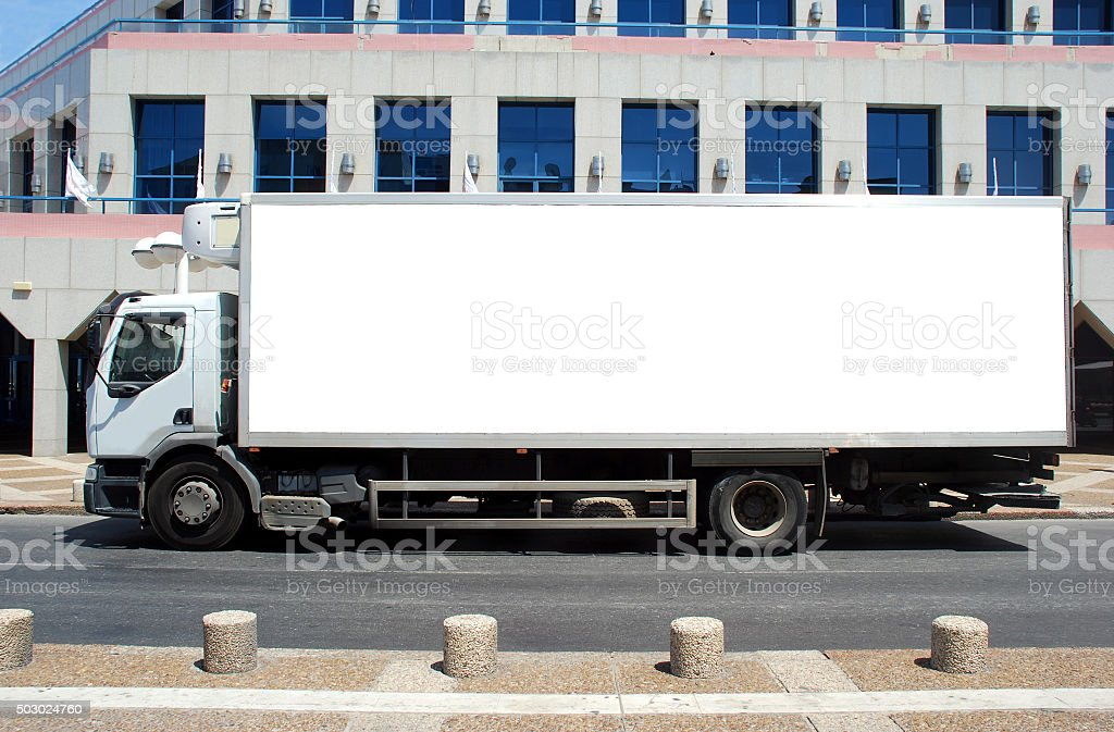 Blank white Sign on a white truck stock photo
