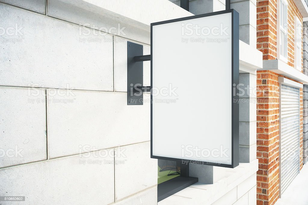 Blank white signboard on the wall outdoor, mock up stock photo