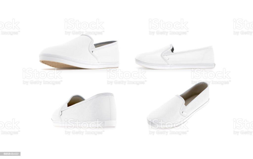 Blank white slip-on shoe mock up set, isolated stock photo