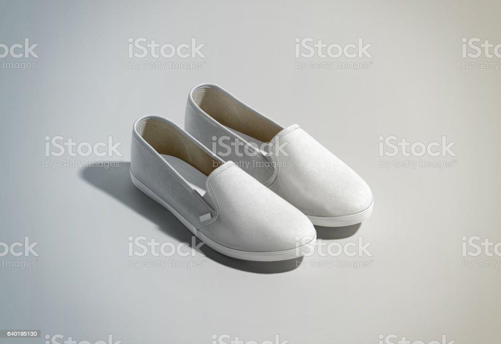 Blank white slip-on shoes pair design mockup, isometric view stock photo