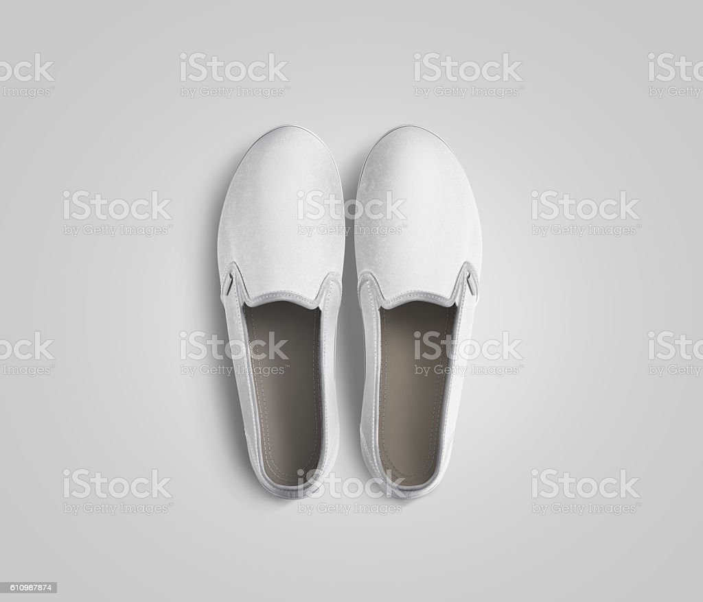 Blank white slip-on shoes pair design mockup, top view, stock photo