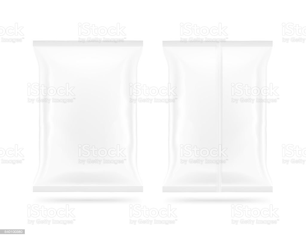 Blank white snack bag mock up front and back side stock photo