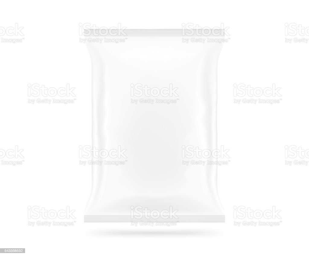 Blank white snack bag mock up isolated. Clear chips pack stock photo