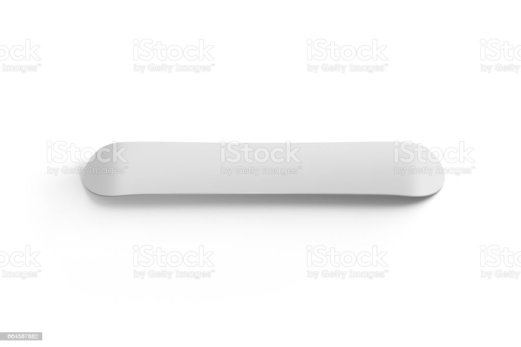 Blank white snowboard design mockup isolated back side view stock photo