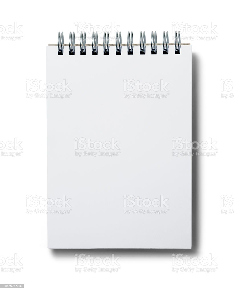 Blank white spiral notepad on white background stock photo