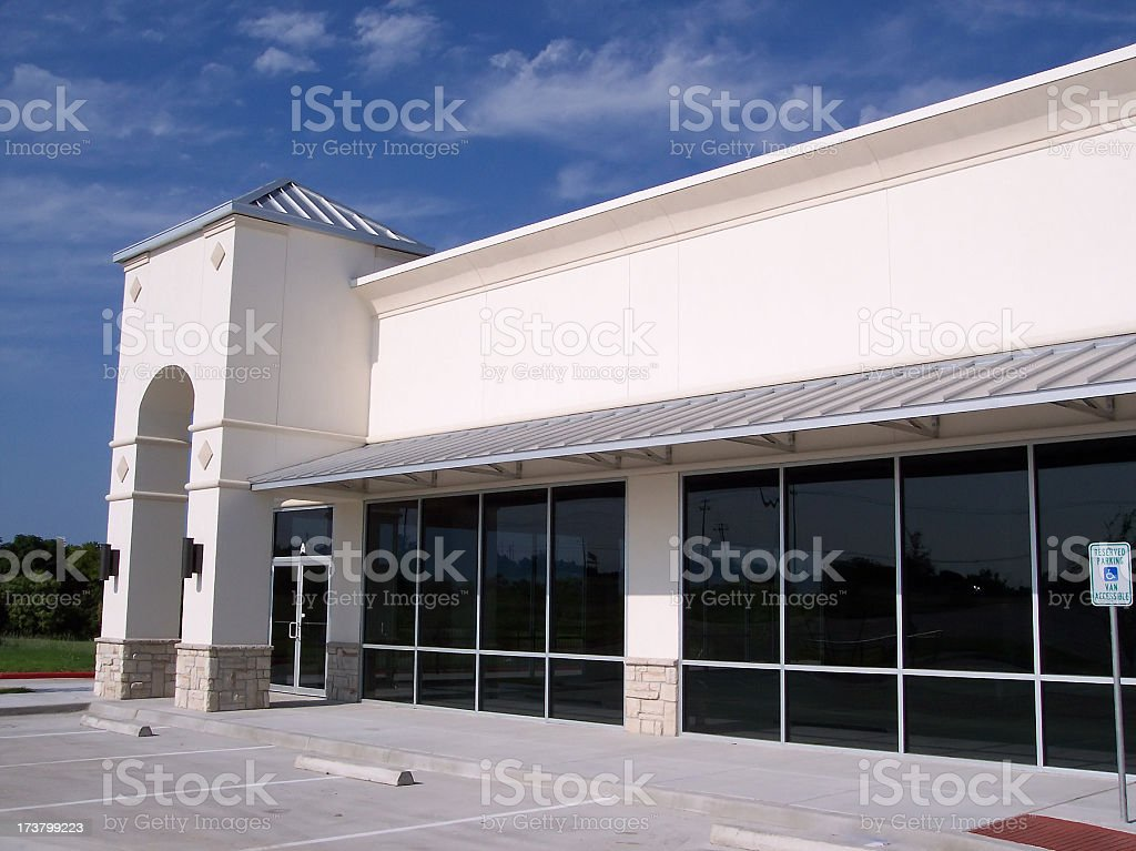 Blank White Storefront Corner Landscape royalty-free stock photo