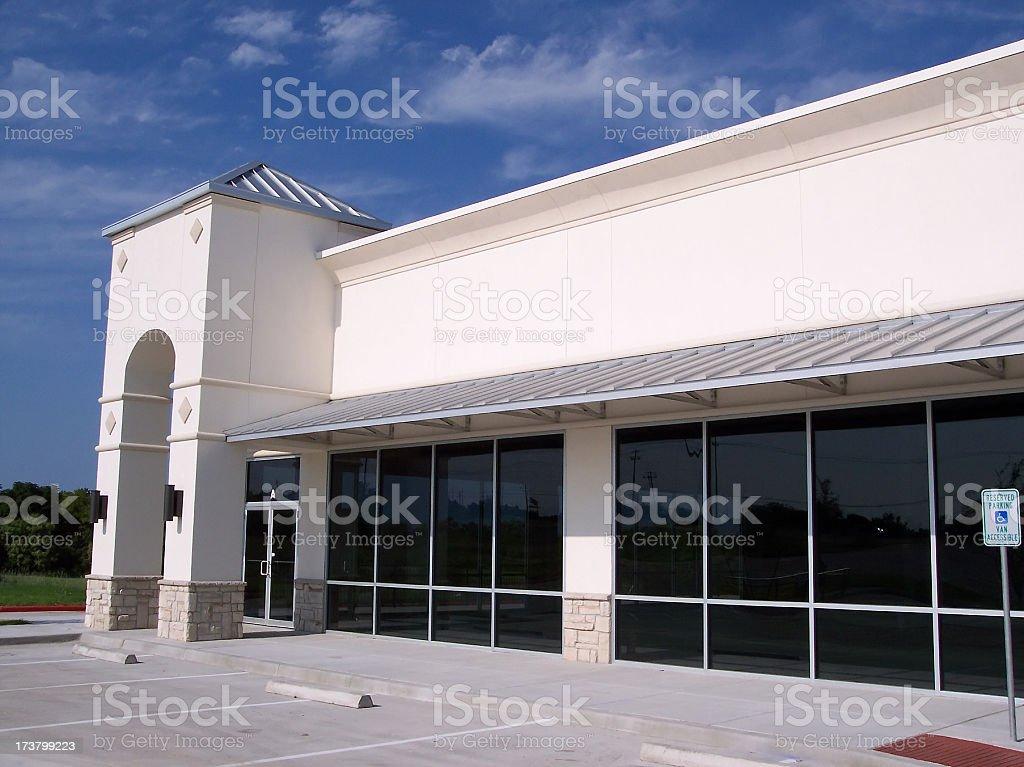 Blank White Storefront Corner Landscape stock photo