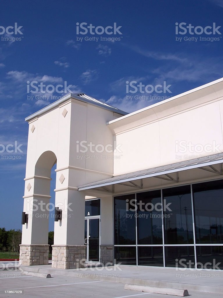 Blank White Storefront Corner Portrait stock photo