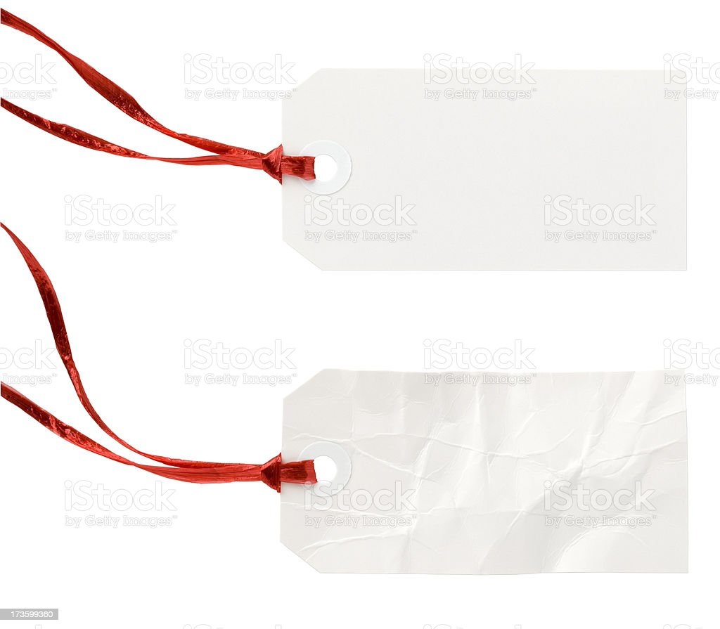 Blank White Tags with Red Ribbon. Clipping Path. royalty-free stock photo