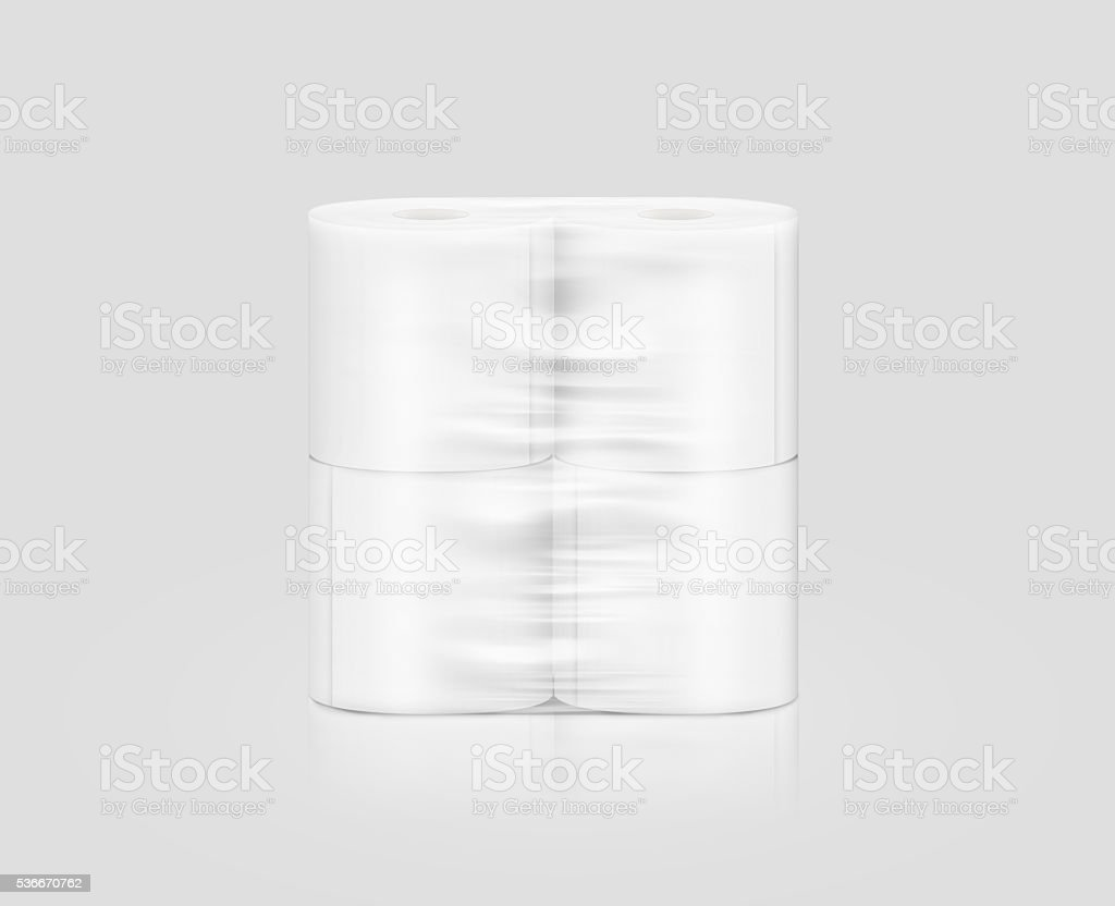 Blank white toilet paper roll packaging mockup, isolated, clipping path stock photo