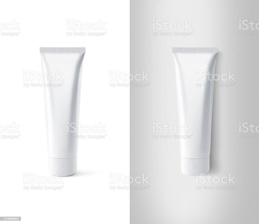 Blank white toothpaste tube design mockup set stock photo