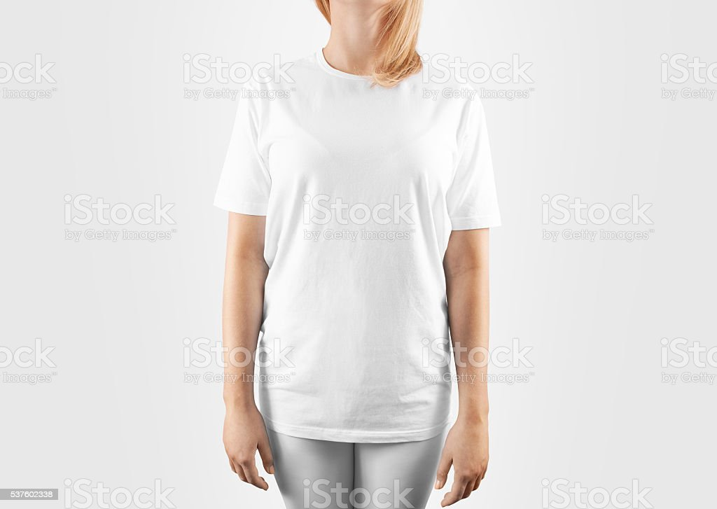 Blank white t-shirt design mockup, isolated, clipping path. stock photo