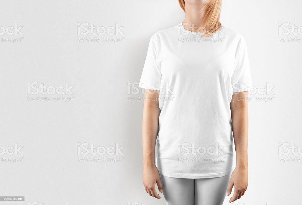Blank white t-shirt design mockup, isolated. stock photo