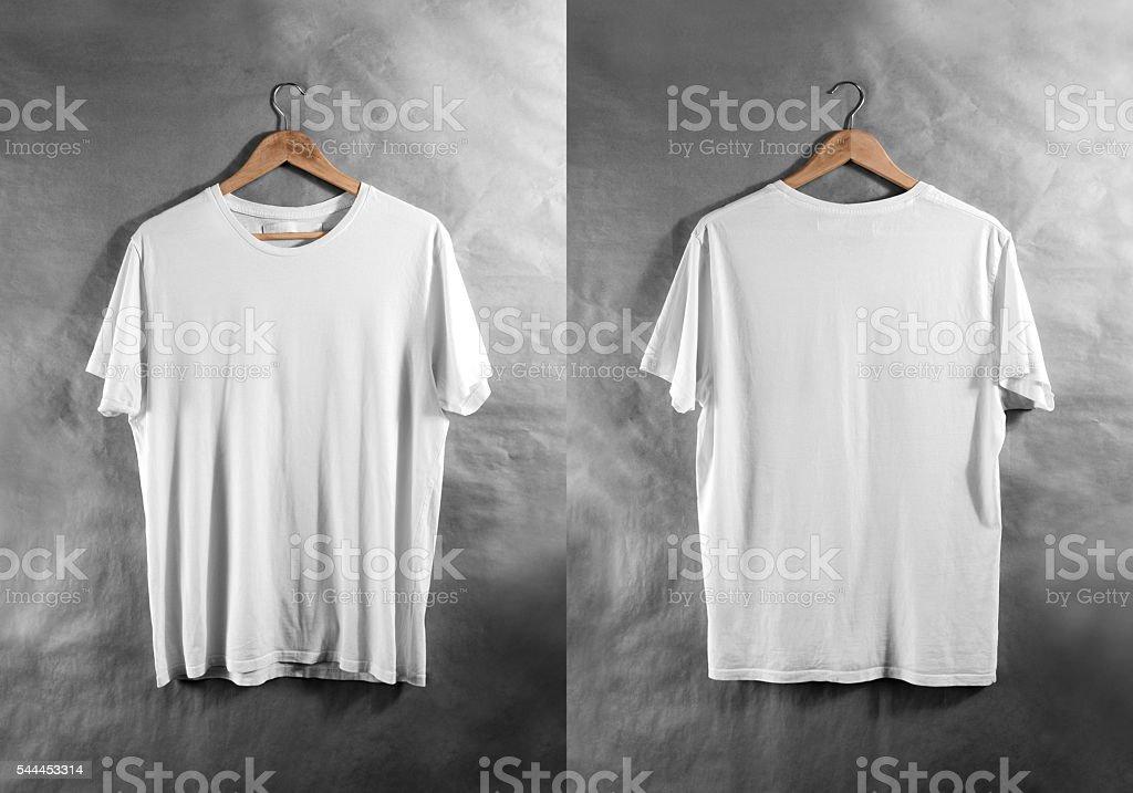 Blank white t-shirt front back side view hanger, design stock photo