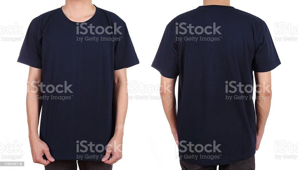 blank white t-shirt set on man stock photo