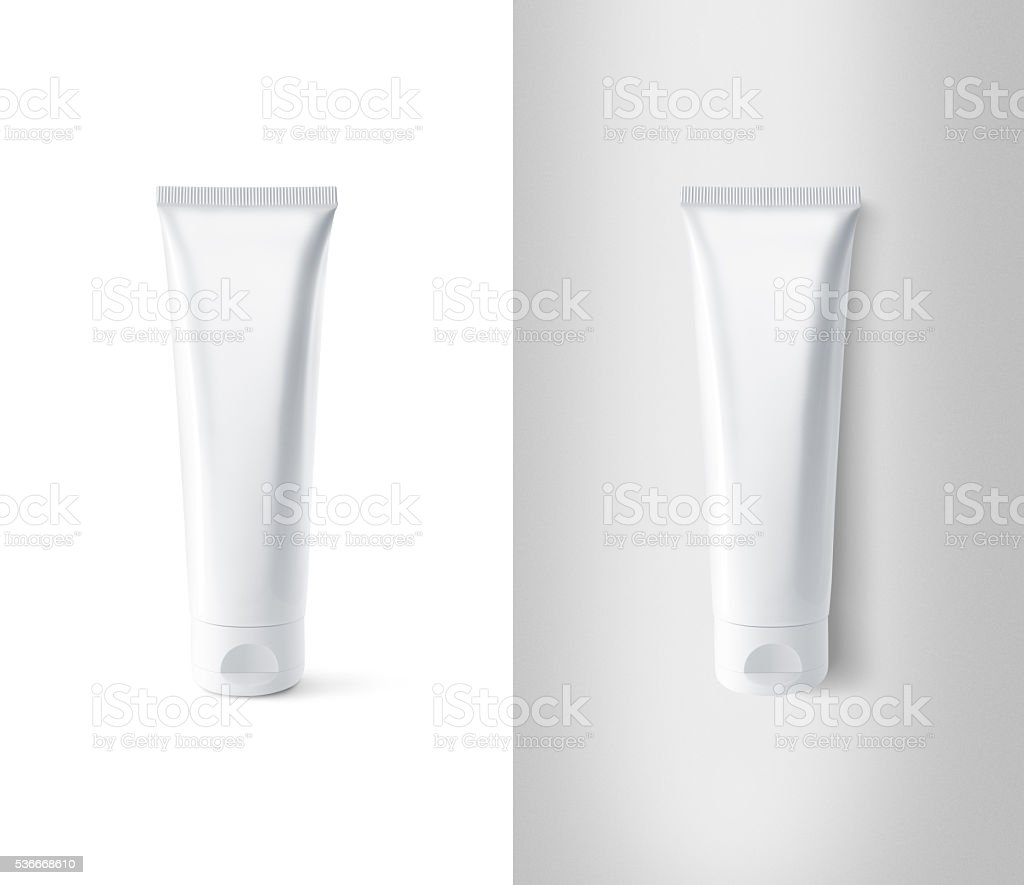 Blank white tube design mockup set, isolated, clipping path. stock photo