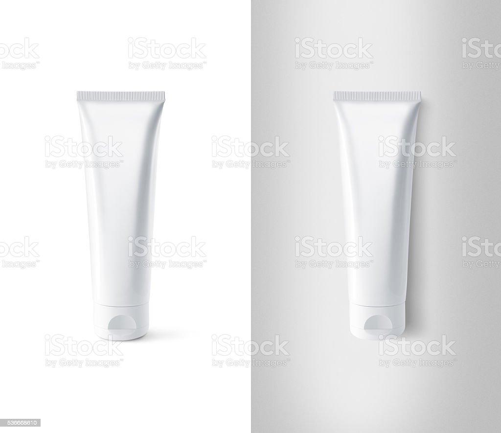 Blank white tube design mockup set, isolated, clipping path. stock photo
