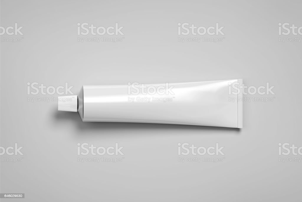 Blank white tube mockup lying, 3d rendering stock photo