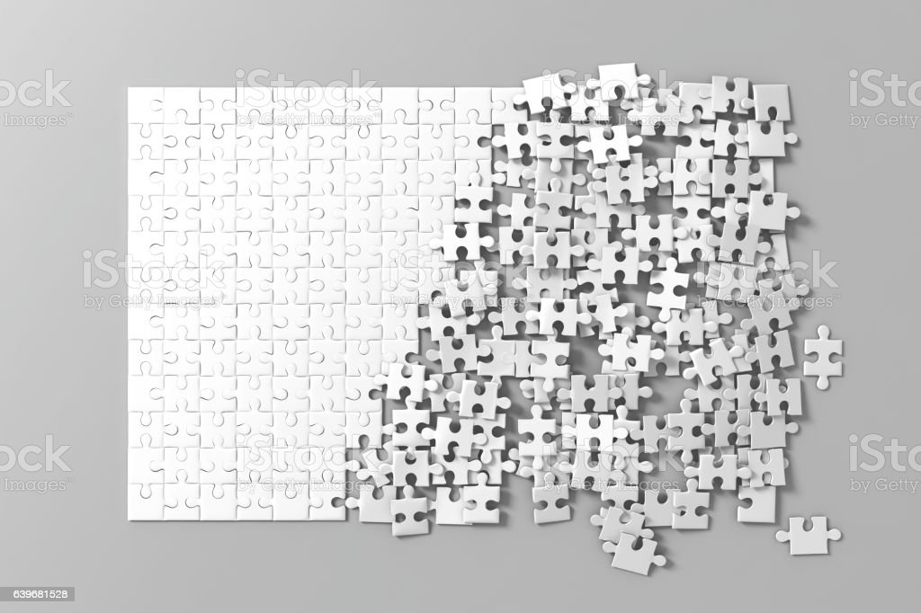Blank white unfinished puzzles game mockup, connecting together, stock photo
