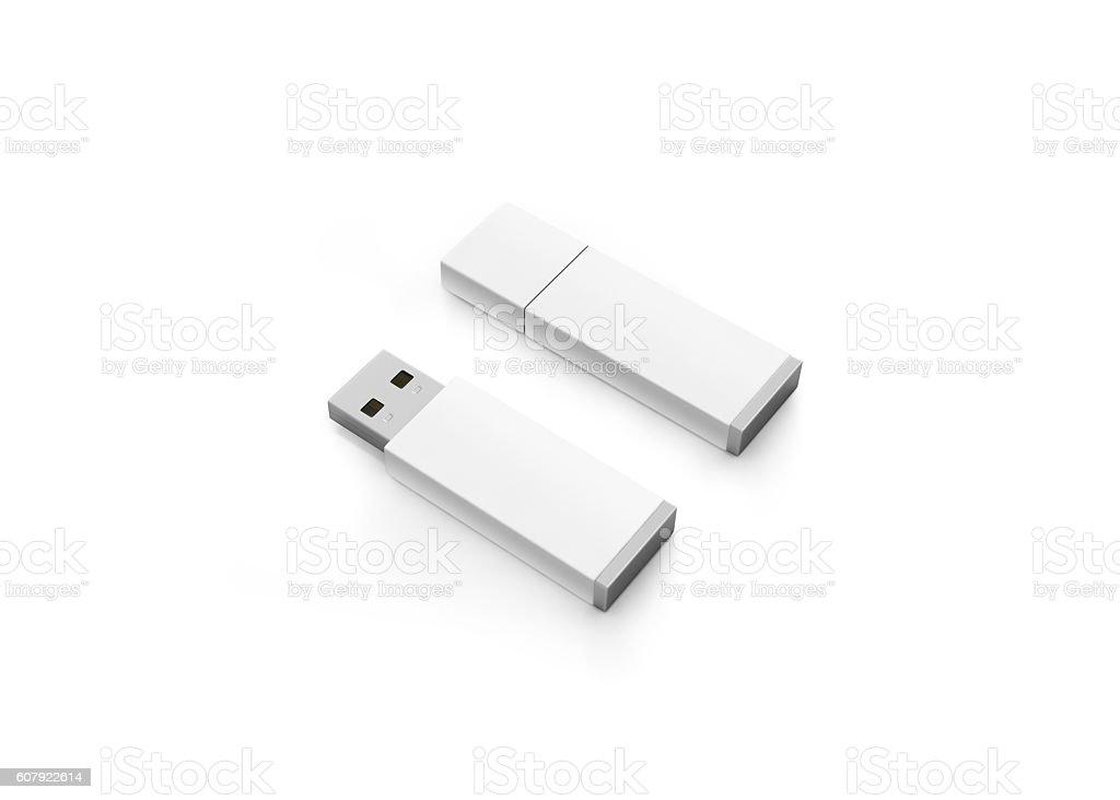 Blank white usb drive design mock up, 3d rendering stock photo