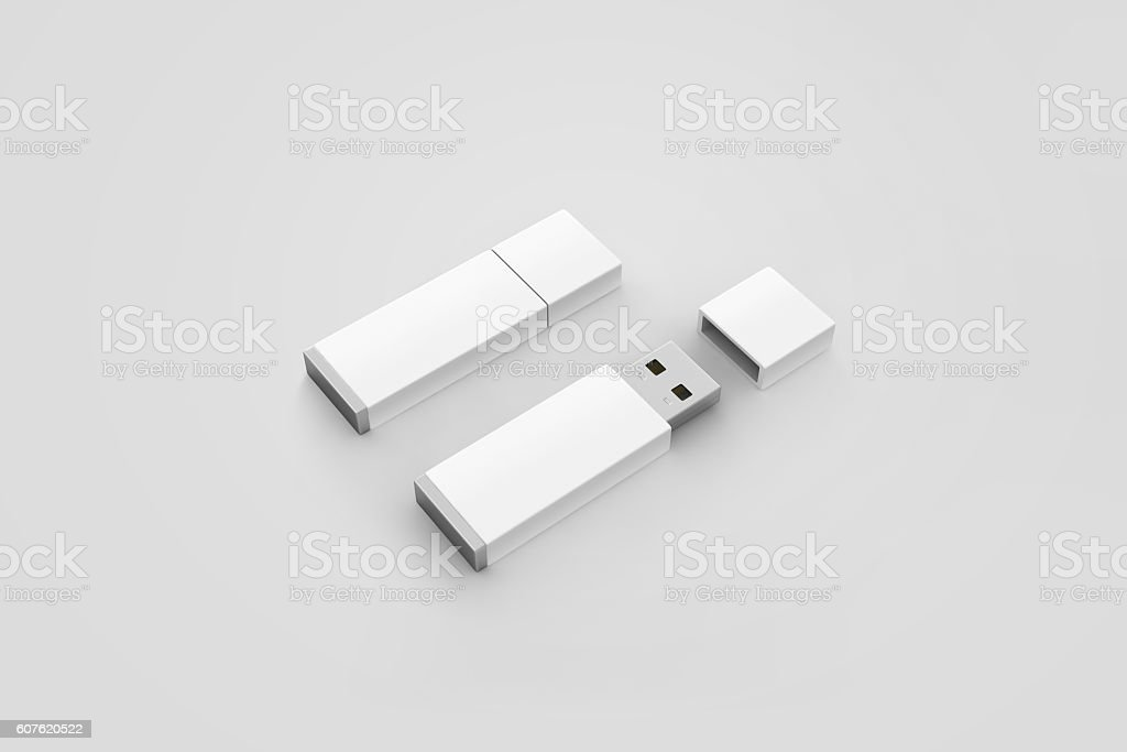 Blank white usb drive design mockup, 3d rendering, opened closed stock photo