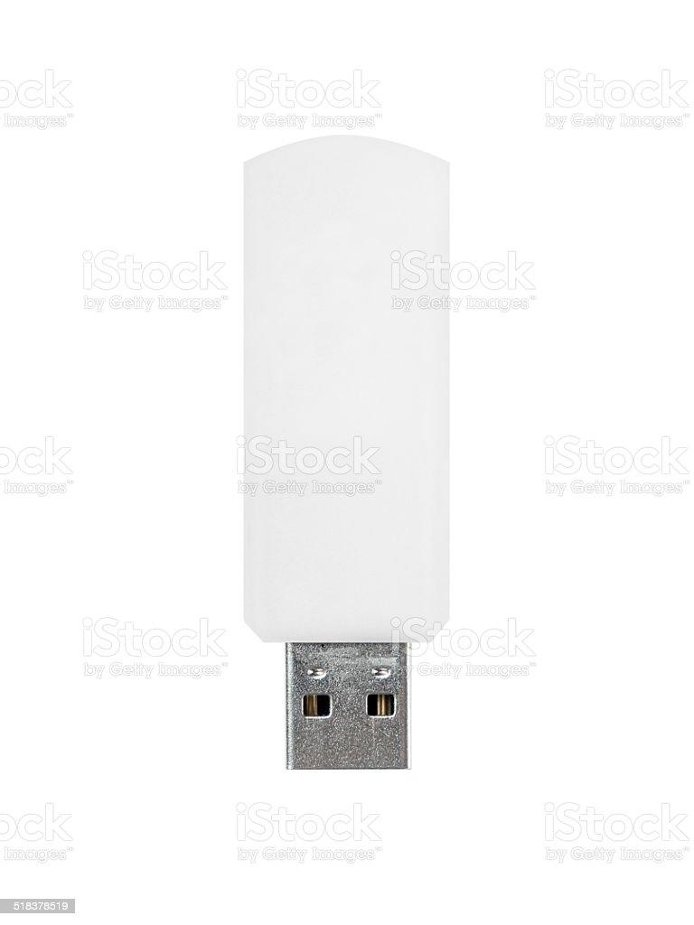 Blank white USB Stick stock photo