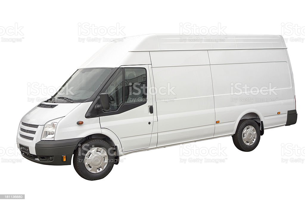 Blank white van - isolated royalty-free stock photo