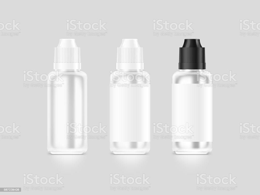 Blank white vape liquid bottle mockup isolated, clipping path, stock photo